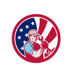 American industrial maintenance mechanic usa flag vector