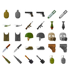 Army and armament cartoonmonochrom icons in set vector