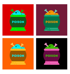 Assembly flat icons of potion cauldron vector