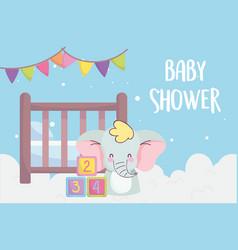 Bashower cute elephant crib blocks clouds vector