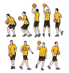 Basketball defender forward and center players vector