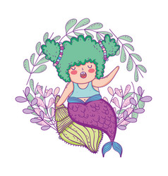 beautiful mermaid with leafs crown vector image