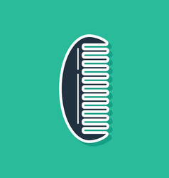 Blue hairbrush icon isolated on green background vector