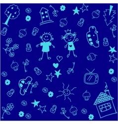 Blue kids happy doodle art vector
