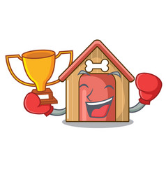 boxing winner mascot dog house of wood home vector image