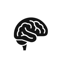 brain simple side view black icon intellect vector image