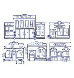 buildings facade front view shop cafe mall and vector image