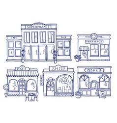 Buildings facade front view shop cafe mall vector