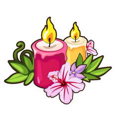 Burning candles with flowers holiday concept vector