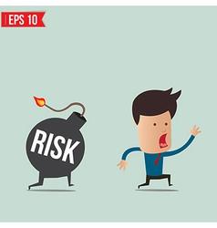 Businessman run away from risk bomb vector