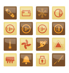 Car dashboard icons over brown background vector