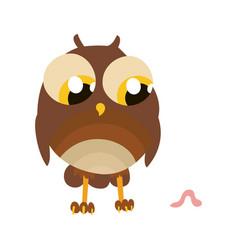 Cartoon character owl with worm card vector