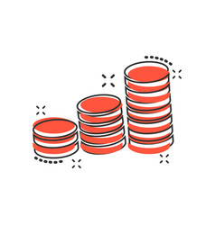 cartoon coins stack icon in comic style money vector image