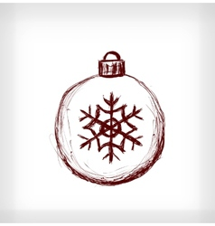 Christmas ball with snowflake vector image