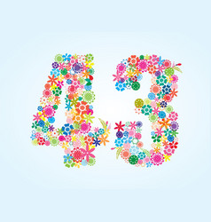 Colorful floral 43 number design isolated on vector