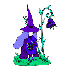 colorful little sorceress with a staff in the form vector image
