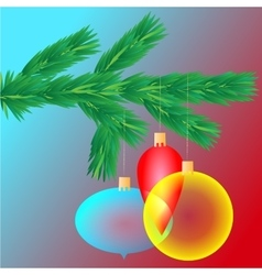 Colorful transparent Christmas balls on spruce vector