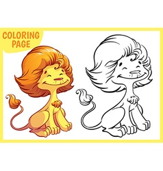 Coloring page Happy golden lion vector image