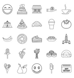 Confectionery icons set outline style vector