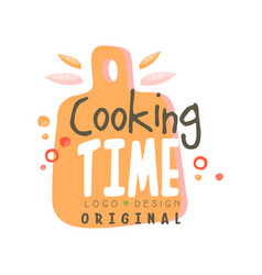 Cooking time logo design kitchen emblem with vector