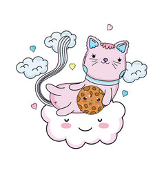 Cute cat with cookie in cloud vector