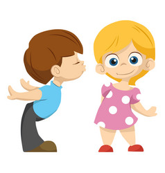 cute couple of kids the boy kisses the girl vector image