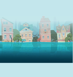 damaged by natural disaster flood houses and trees vector image