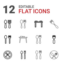 diner icons vector image