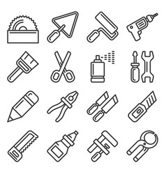 Diy hand tools icons set line style vector