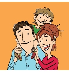 Family mom dad and son vector image