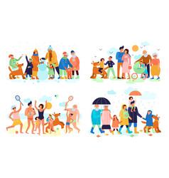family seasons flat set vector image