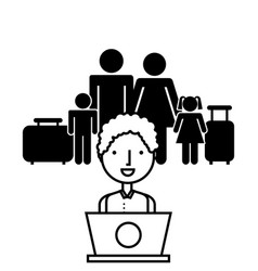 family with travel suitcases vector image
