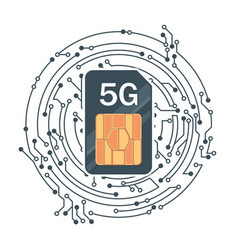 flat 5g sim card with microelectronics vector image