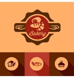 flat bakery icons vector image