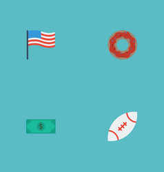 Flat icons greenback football america and other vector
