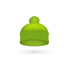green cold hat trendy season warm wool cap fashion vector image