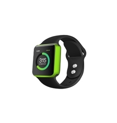 Green fitness watch on the white background vector
