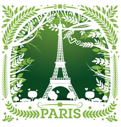 greeting card with eiffel tower in paris template vector image