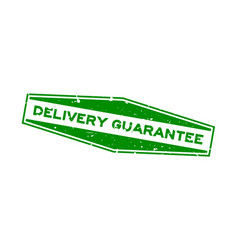 grunge green delivery guarantee word hexagon vector image