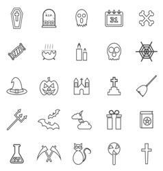 Halloween line icons on white background vector image