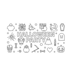 halloween party thin line horizontal vector image