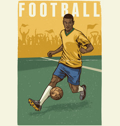 Hand drawing retro style of soccer player vector