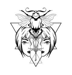 Hand drawn beetle with portrait vector