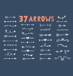 hand drawn vintage tribal arrows set vector image