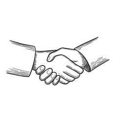 handshake sketch business concept people vector image