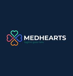 Heart care logo cross medical with shape vector