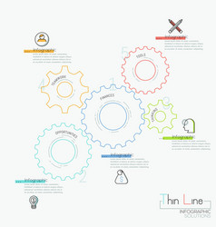 Infographic design template with 5 gear wheels vector
