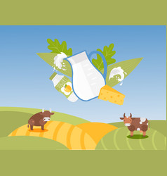 jug milk and dairy products on background of vector image