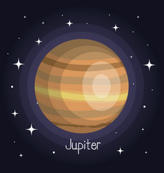 Jupiter planet in space with stars shiny cartoon vector