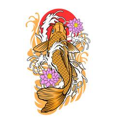 Koi fish tattoo design in vintage look vector
